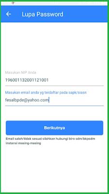 Masukkan NIP kemudian klik lupa password.