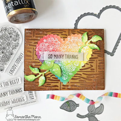 So Many Thanks Card by Samantha Mann for Newton's Nook Designs, Heartfelt Blooms, Die Cuts, Distress Inks, Stencil, Ink Blending, Heat Embossing, #newtonsnook #newtonsnookdesigns #distressinks #inkblending #thankyou #cards #cardmaking