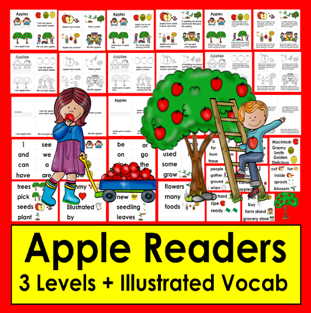 https://www.teacherspayteachers.com/Product/Apples-Readers-3-Reading-Levels-Illustrated-Vocab-for-Word-Wall-2766088