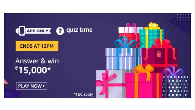 Amazon Quiz Answers For Today 13th April 2020 - Win ₹15,000 Amazon Pay balance