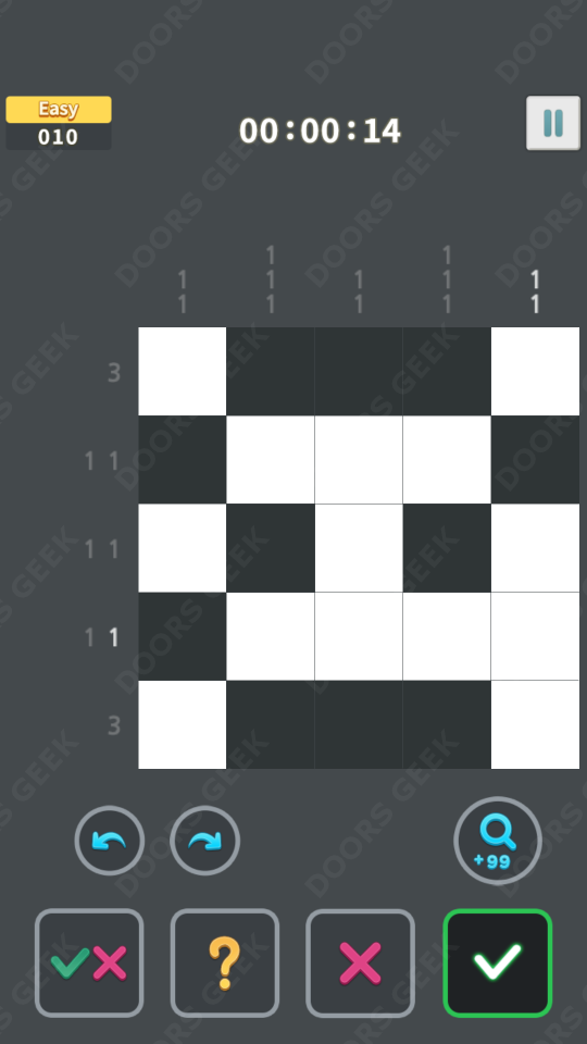 Nonogram King Easy Level 10 Solution, Cheats, Walkthrough for Android, iPhone, iPad and iPod