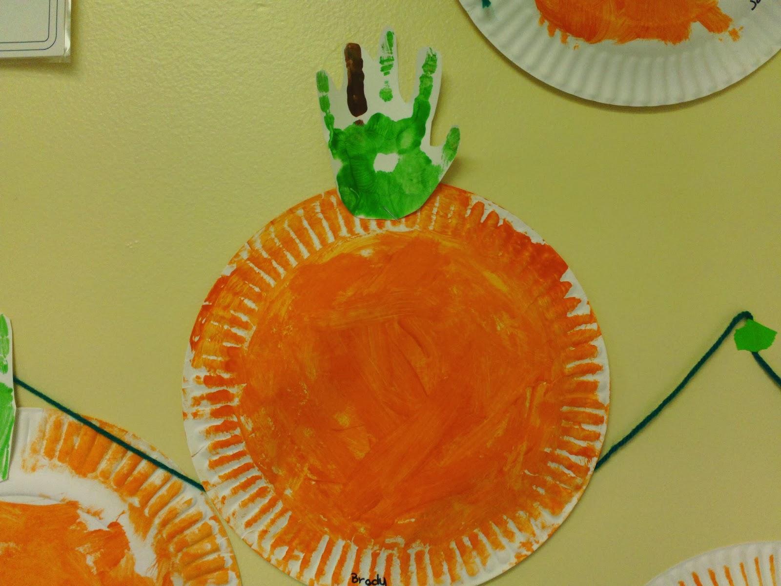 Beautiful chaos preschool handprint pumpkin patch for Pumpkin stems for crafts
