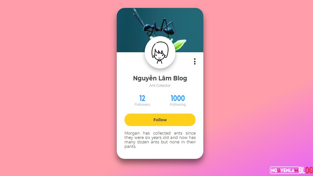 Hướng Dẫn Tạo Profile Card UI Bằng HTML và CSS Cho Blogspot