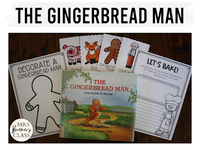 The Gingerbread Man book study literacy unit with Common Core aligned companion activities and a craftivity for K-1