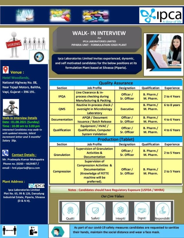 IPCA Labs | Walk-in interview for Production/QA on 1st Aug 2021