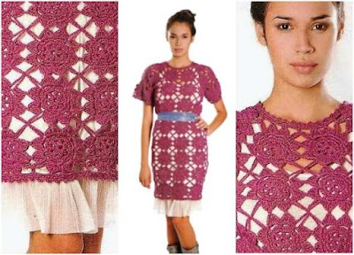 Vestido túnica ganchillo motivo flor