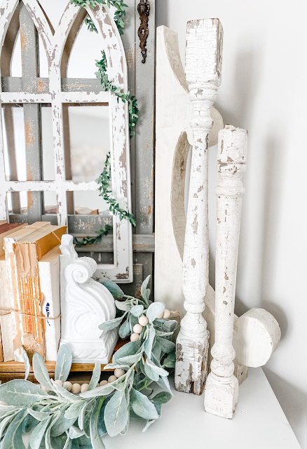 chippy shabby white wooden balusters corbel bookends