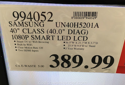 Deal for the Samsung UN40H5201A at Costco