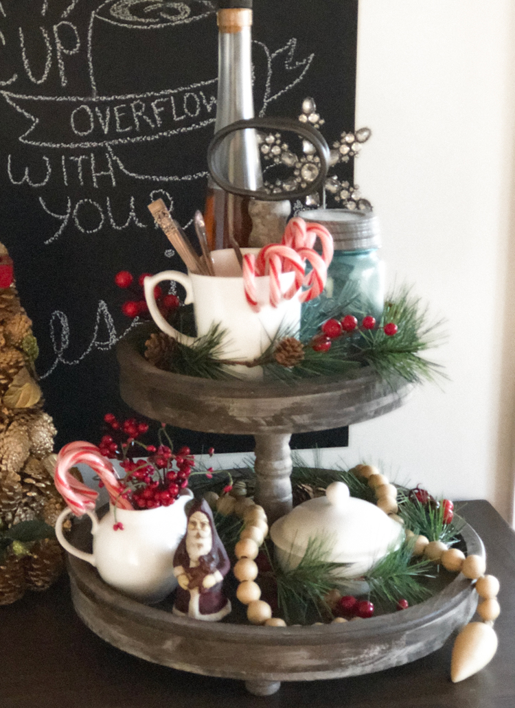 wooden tiered tray decorated for christmas