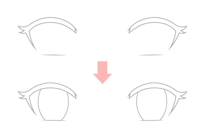 Menggambar contoh konsistensi dengan mata anime