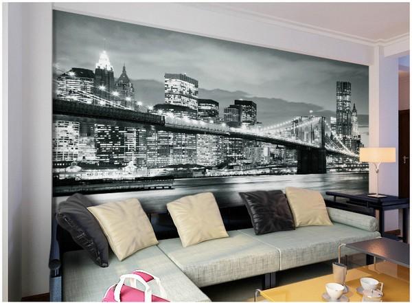 New York Tapetti New York taustakuva Kuva New York mustavalkoinen Brooklyn Bridge yöllä olohuoneen seinätulostesektorille