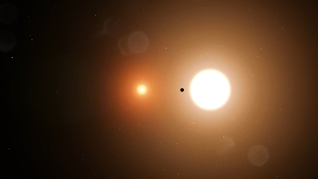Planeta TOI 1338 b com seus dois sóis