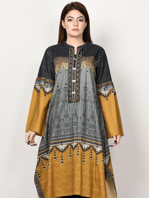 Limelight Grey Color Khaddar printed shirt winter pret