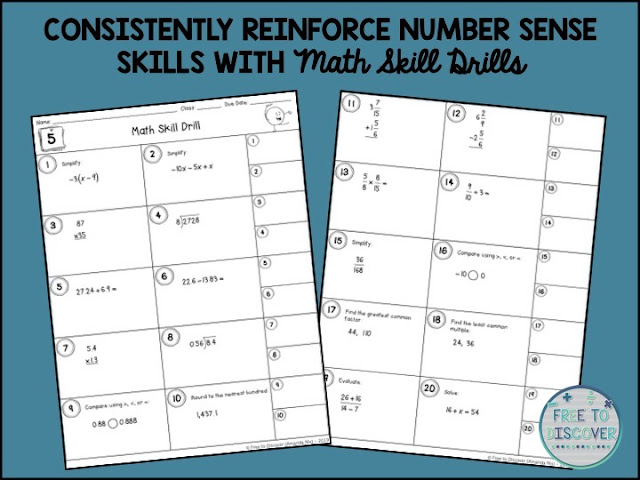consistently reinforce number sense skills with math skill drills