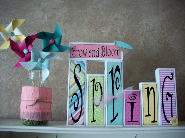 Spring shelf using Dear Lizzie Fifth and Frolic crafting line