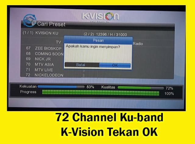 Update 72 Channel K-Vision Ku-band Berbayar dan Gratis FTA ( Free to Air )
