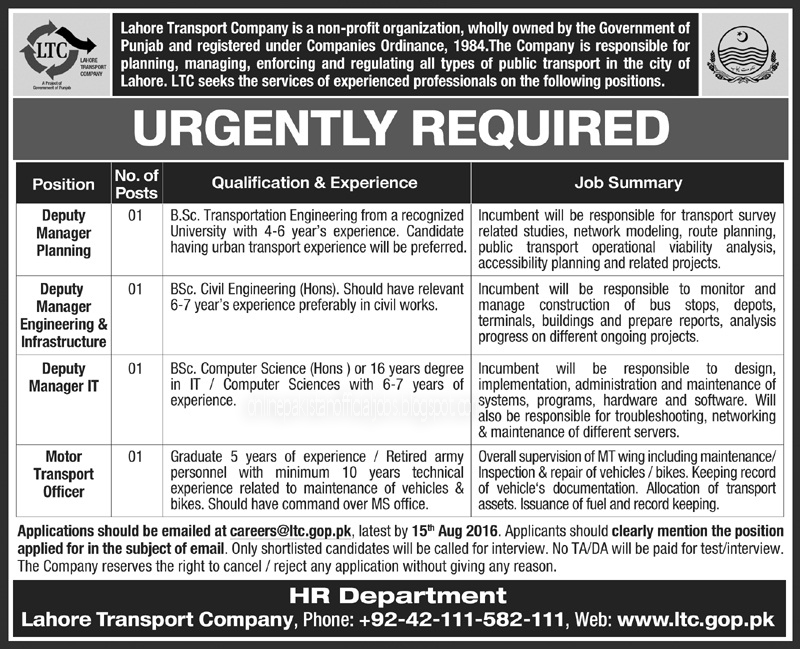 Lahore Transport Company Jobs July 2016