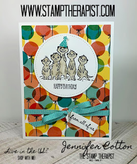 Jennifer shows you how to make this birthday card using Stampin' Up!'s The Gang's All Meer Sale a Bration stamp set!  Click the picture to go to the blog for the video!