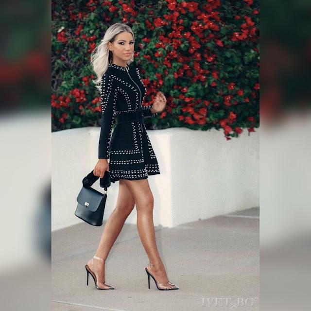 Μακρυμάνικο  μαύρο φόρεμα ALFREDA