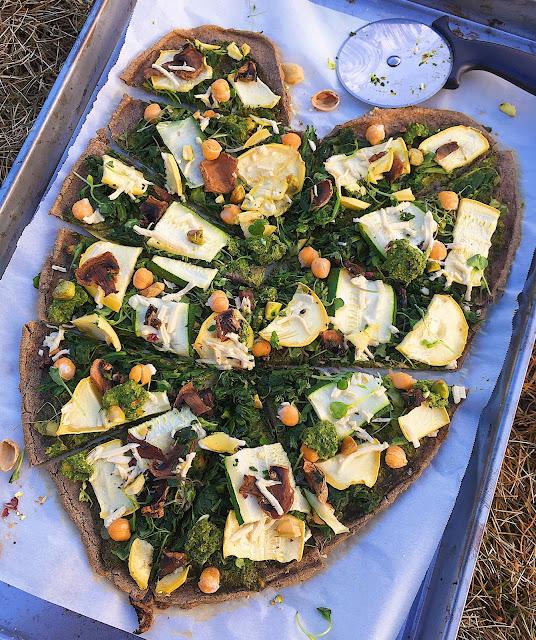 Whole Grain Pistachio Pesto Pizza (Gluten Free, Vegan, Oil Free)