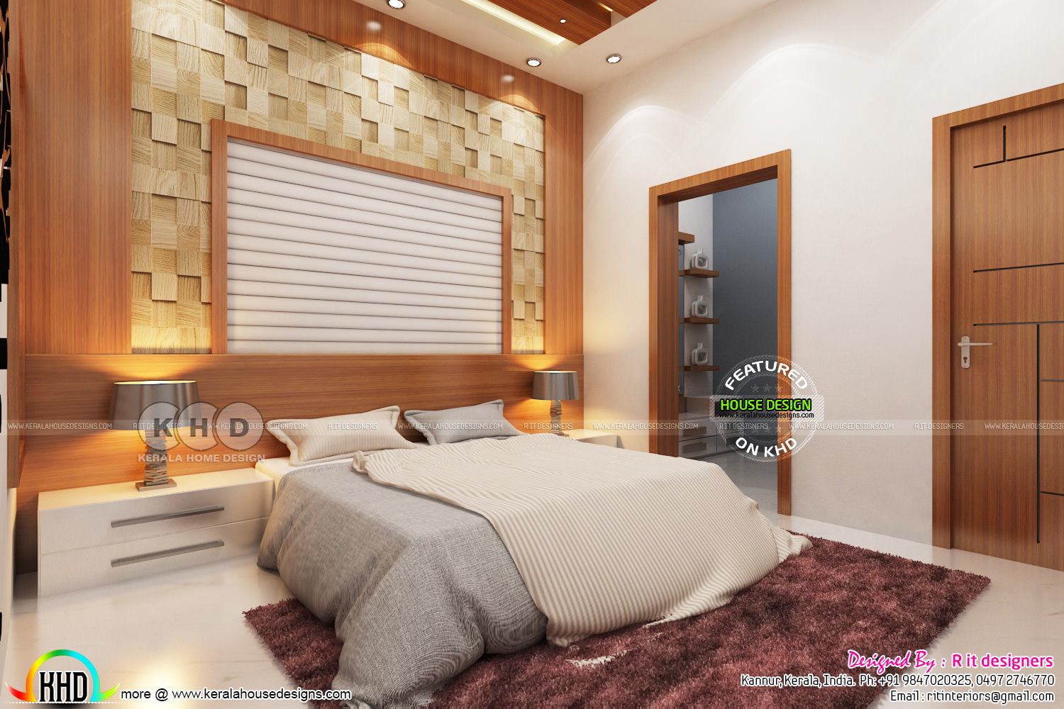 Grand creative master bedroom interior kerala home Creative interior design