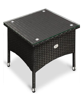 Polyrattan Garden Furniture Table Outdoor Rattan Side Coffee Tea Table with Glass Plate