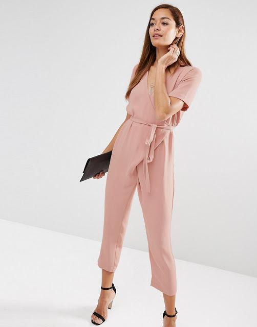 pink tie wrap jumpsuit,