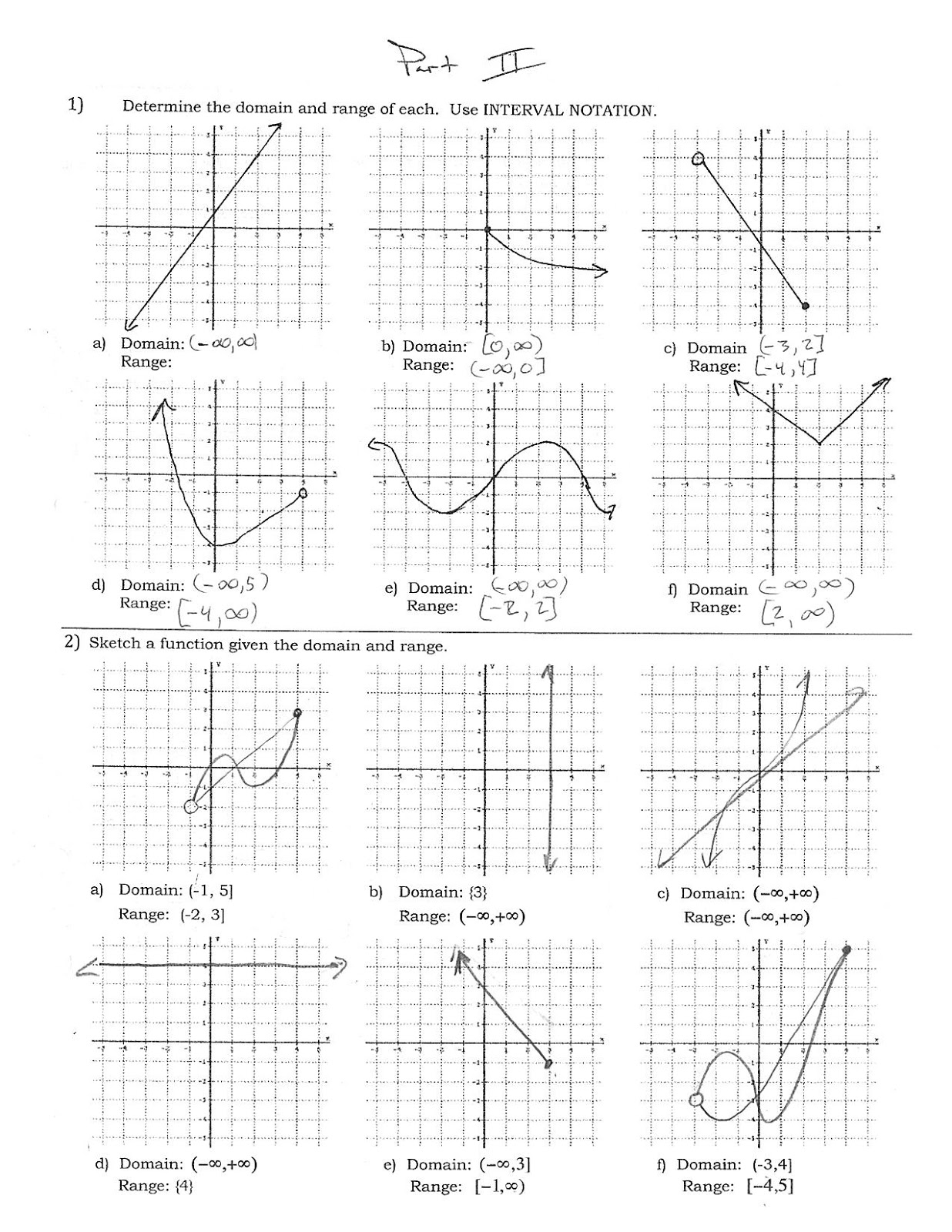 Domain And Range Of Continuous Graphs Worksheet Answers