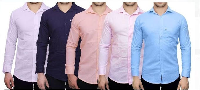 Pack Of 5 Men's Slim Fit Cotton Blend Solid Casual Shirts