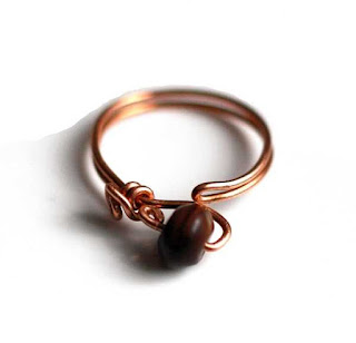Red Tiger Eye Adjustable Copper Ring