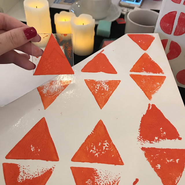 Christmas crafting at the Viking Arty Party block printing with Tea and Crafting