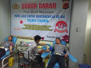 Sat lantas Polres Cirebon Donorkan Darah Dalam Rangka Hari Lalu Lintas Bhayangkara Ke-64 Polres Cirebon