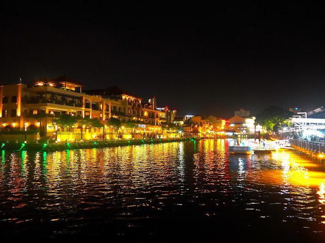 River by night in Melaka, Malaysia