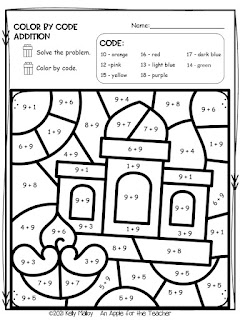 Diwali Color by Number Addition house black and white