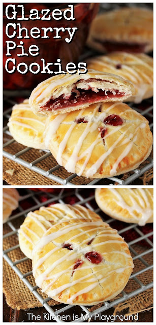 Cherry Pie Cookies ~ Stuffed with cherry pie filling and drizzled in sweet glaze, these are little hand-held bites of cherry pie deliciousness. But you get to skip the fork! They're perfectly portable little bites for picnics, tailgating, lunchbox desserts, or everyday snacking treats.  www.thekitchenismyplayground.com