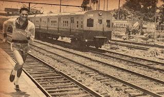José Telles contra um trem da Central