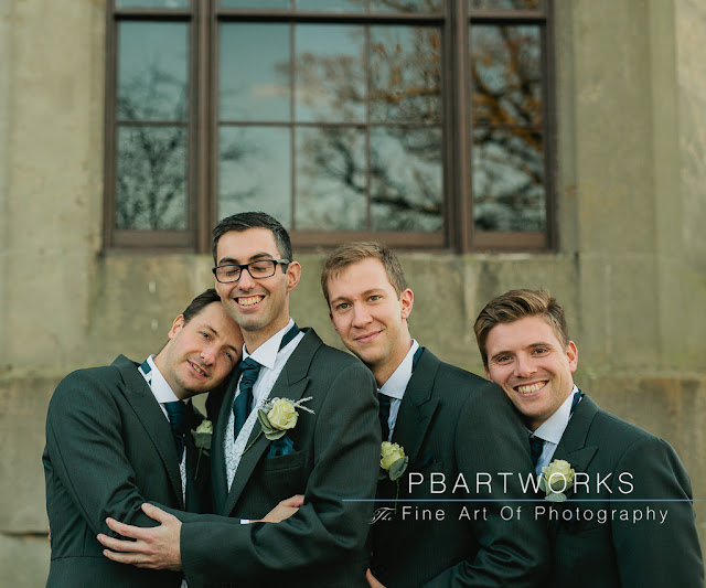 Groomsmen wedding cuddles