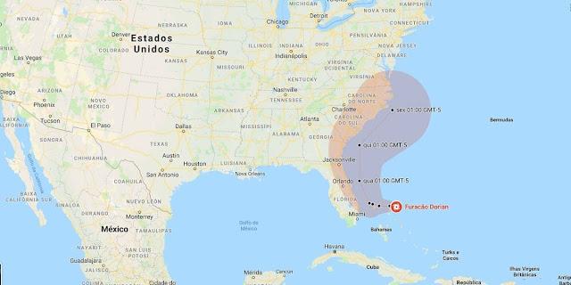 Mapa furacão Dorian