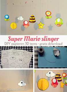 Super Mario slinger - DIY papieren 3D items - gratis download