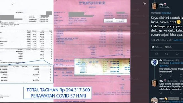 Unggah Biaya Perawatan COVID-19 Hingga Rp 200 Juta, Netizen: Meninggal Aja