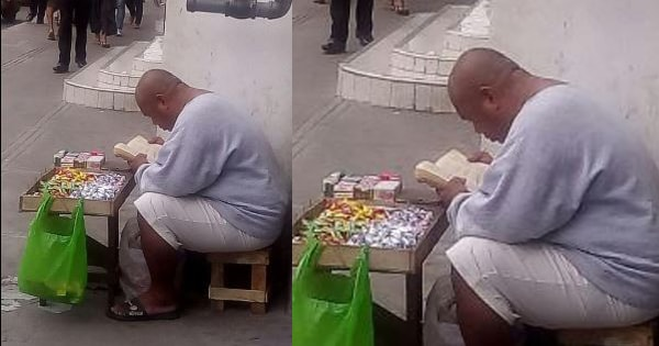 Street vendor becomes viral for reading the Bible during free time