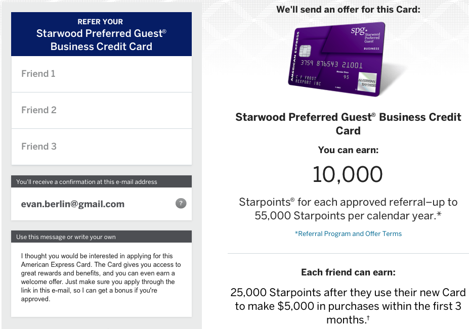 the referral offer is the same 25000 points after spending 5000 in the first 90 days as the public offer for the cardmember - Spg Business Card