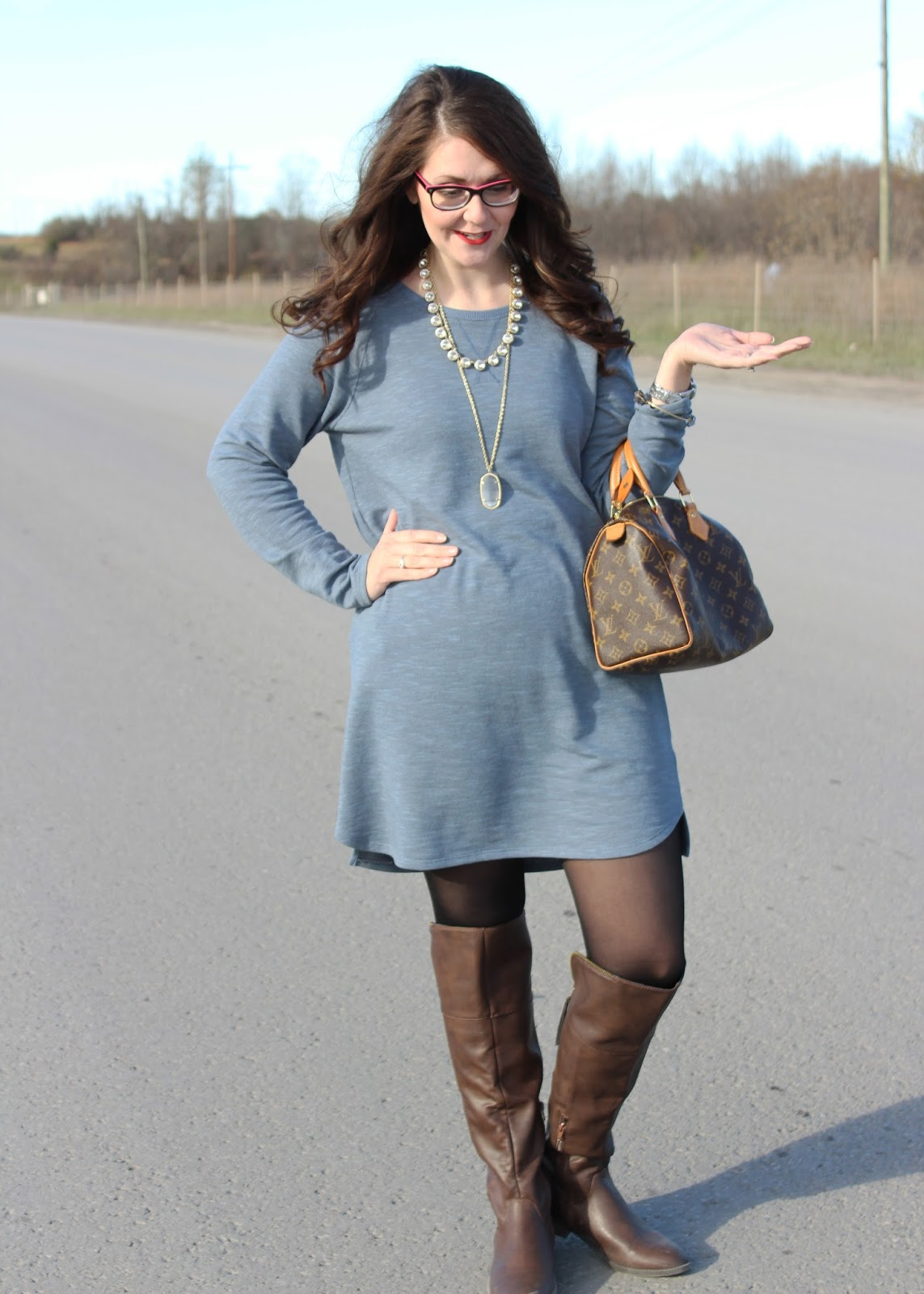 3d90556586d Thanksgiving Day Outfit  Sweater Dress and OTK Boots