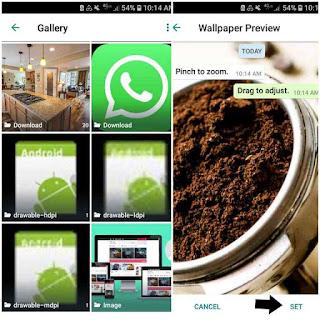 Memilih Wallpaper atau background whatsapp di galery