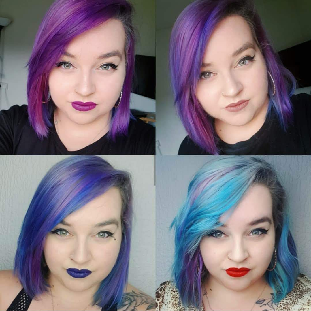 4 photos showing the way beths hair changed colour after washing