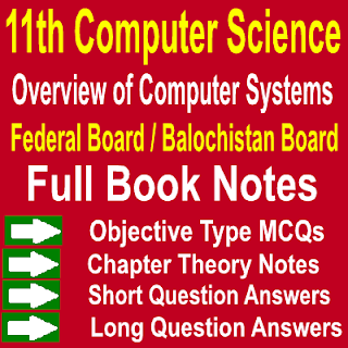 1st year Federal Board Balochistan Board Notes Chapter One Overview of Computer Systems MCQs Question Answers Therory