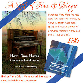 Purchase How Time Moves: New and Selected Poems, by Caryn Mirriam-Goldberg, ($22) and receive a copy of Everyday Magic for only $14 more (regular $25).