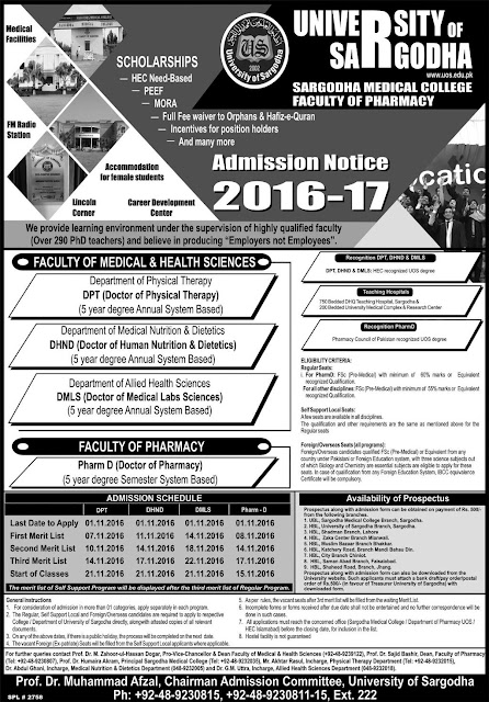 University of Sargodha admission Open