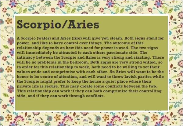 love match for scorpio and aries Sexual compatibility between aries and scorpio - read how the stars influence your sex life and love astrology.