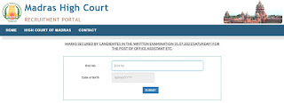 Madras High Court Office Assistant Result 2021